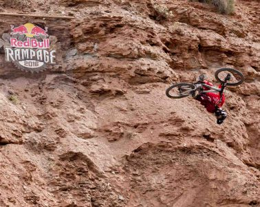 Brandon Semenuk rides his line to a 1st place finish at Red Bull Rampage in Virgin, UT, USA on 14 October, 2016.